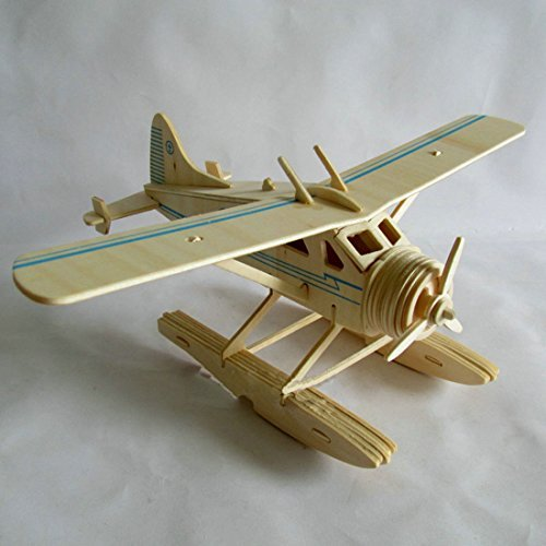 Kaden G-P 3D Jigsaw Woodcraft DIY Assembly Construction Model Plane aircraft airplane Puzzle Kit Wooden Handcraft Educational Products Wooden Art jigsaw puzzle toys for children diy handmade wooden(old bomber-model - Models Aircraft 3d
