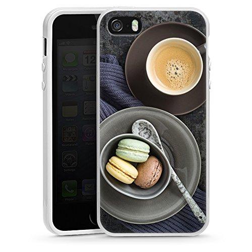 """artboxONE Handyhülle Apple iPhone SE, weiß Silikon-Case Handyhülle """"Coffee and Macarons Case"""" - Essen & Trinken Rock the kitchen - Smartphone Silikon Case mit Kunstdruck hochwertiges Handycover von El"""