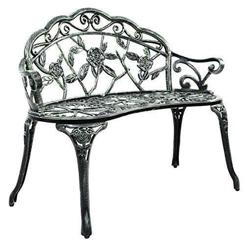 Giantex Patio Garden Bench Chair Style Porch Cast Aluminum Outdoor Rose Antique Green (Cast Iron Outdoor Bench)