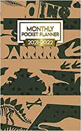 2021-2022 Monthly Pocket Planner: Nifty Prehistoric Two ...