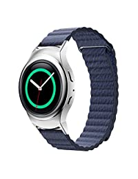 Watch accessories, ABC Luxury Leather Loop Type Watch Band Strap + Connector for Samsung Gear S2 RM-720 (Blue)