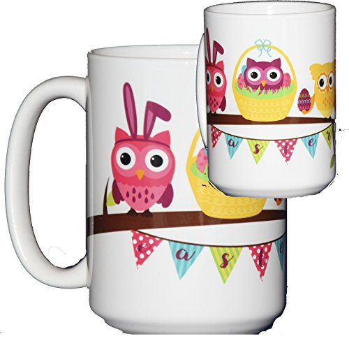 Easter Coffee Mug Hostess Gift Adorable Cartoon Owls on a Tree Branch Bunny and Eggs