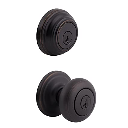 Beau Kwikset 991 Juno Entry Knob And Single Cylinder Deadbolt Combo Pack  Featuring SmartKey In Venetian Bronze