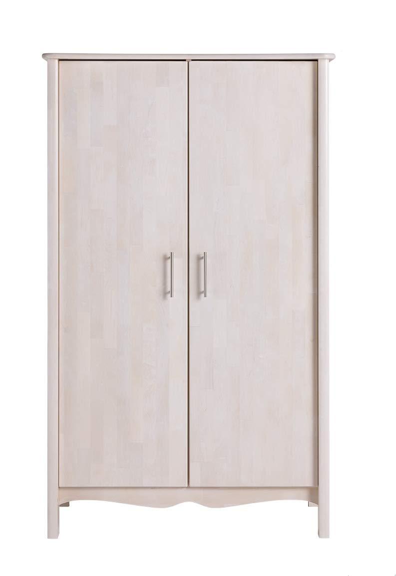 BioKinder Feli Kinderschrank Kleiderschrank Schlafzimmerschrank 2-türig aus Massivholz Birke 109 x 62 x 180 cm weiß lasiert