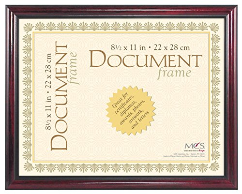 MCS 8.5x11 Inch Elegant Wood and Gold Document Frame, Mahogany (70181) by MCS