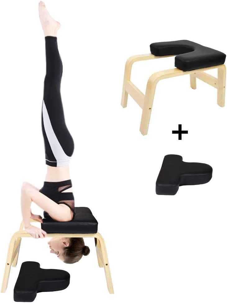 Cchainway Balanced Yoga Headstand Bench- Stand Yoga Chair for Family, Gym – Wood and PU Pads – Relieve Fatigue and Build Up Body Black