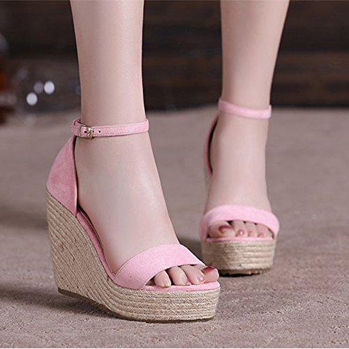 Sandals ZHIRONG Women's Summer Slope Fashion Waterproof Platform Weave High Heels Bohemia Thick Bottom Beach Shoes 10CM (Color : Yellow, Size : EU35/UK3/CN34) Pink