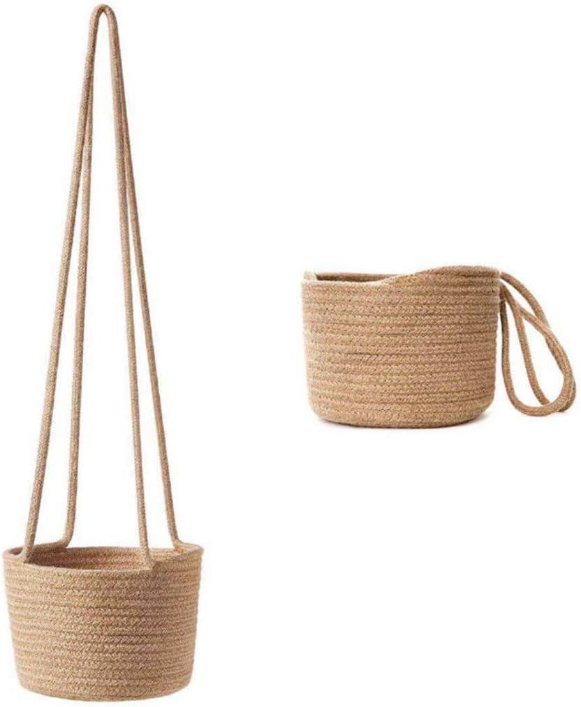 Maceta Colgante Tejida a Mano con cord/ón de algod/ón y Yute para Interior Gwxevce Color Beige