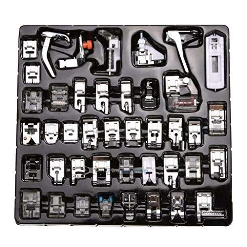 Foot Presser 0.25 (certainPL 52 Pcs Domestic Sewing Machine Presser Foot Feet Set Compatible for Babylock, Singer, Janome, Brother, Pfaff, Toyota, Kenmore & More (Silver))