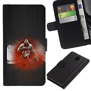 JackGot ( Asesino ) Samsung Galaxy Note 3 III la tarjeta de Crédito Slots PU Funda de cuero Monedero caso cubierta de piel