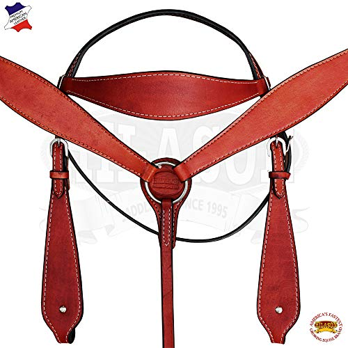 HILASON American Leather Horse Headstall Bridle Breast Collar - Mahogany