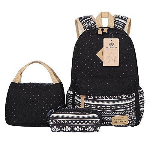 Teens Backpack Set Canvas Girls School Bags, Bookbags 3 in 1 (Polka Dot Black)