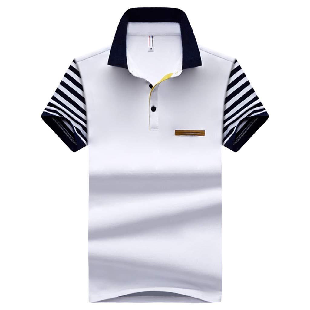 Mens Cotton Summer Polo Shirts Fashion Lapel Short Sleeve Breathable T-Shirts Tops