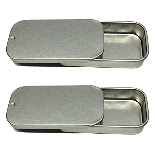 Small Sliding Top Metal Tin Containers, For Geocaching, Lip