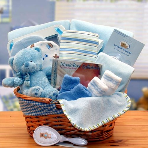 Basket Gift Blue (Baby Boy Blue Just for You! Newborn Baby Gift Basket for Boys -Blue)