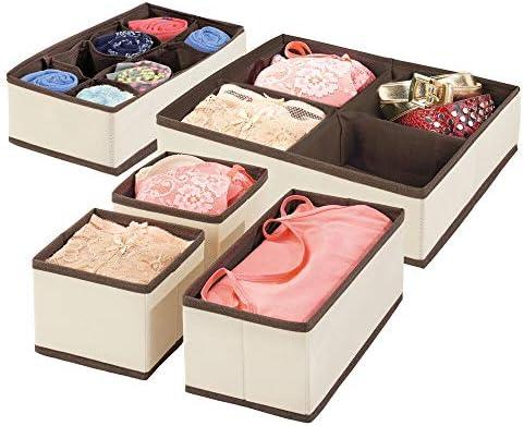mDesign 5er-Set Kleiderschrank Organizer – praktische Aufbewahrungskiste für das Schlafzimmer mit Mehreren Fächern – flexibel verwendbare Stoffbox in 4 Größen – cremefarben und Dunkelbraun