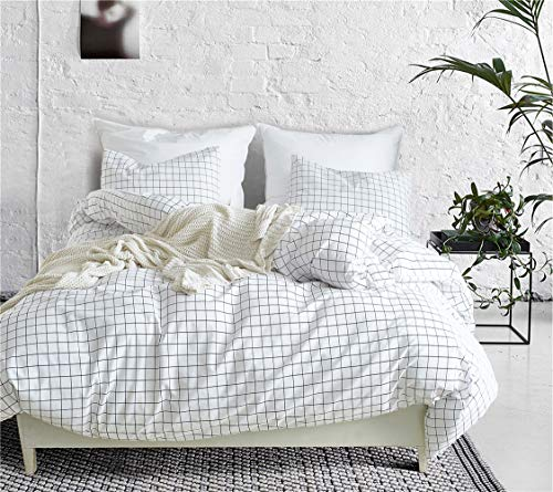 (Lurson Checkered Duvet Cover White Plaid Duvet Cover Twin Size Microfiber Single Bedding Sets with Zipper)