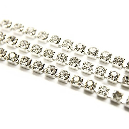 RayLineDo 3A Class 3mm Clear Rhinestone Diamante Silver Plated Chain 10 Yard Lenght for Wedding Supplies DIY Sewing Craft Jewellery Making Party Decorations