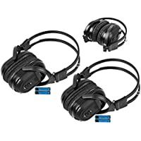 2 Pack of Two Channel Folding Universal Rear Entertainment System Infrared Headphones Wireless IR DVD Player Head Phones for in Car TV Video Audio Listening