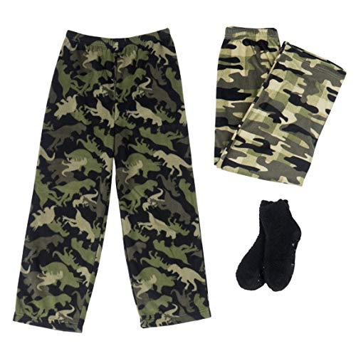 Mad Dog Boy's 2-Pack Pajama Pants + Slipper Socks(Camo/Dino, M (6-8)) ()