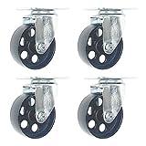 4 Pack Large Steel Swivel Caster Wheel Heavy Duty 3.5'' Wheel (3.5'' No Brake)