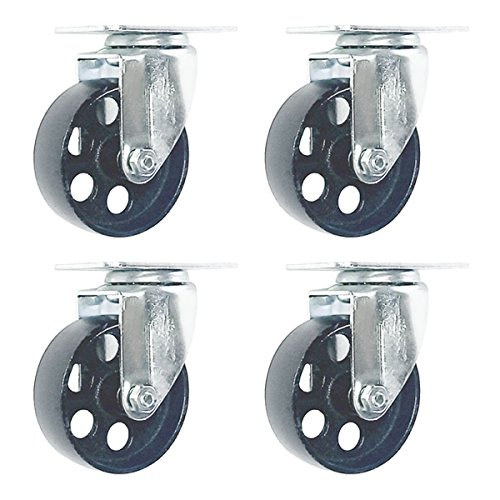4 Pack Large Steel Swivel Caster Wheel Heavy Duty 3.5