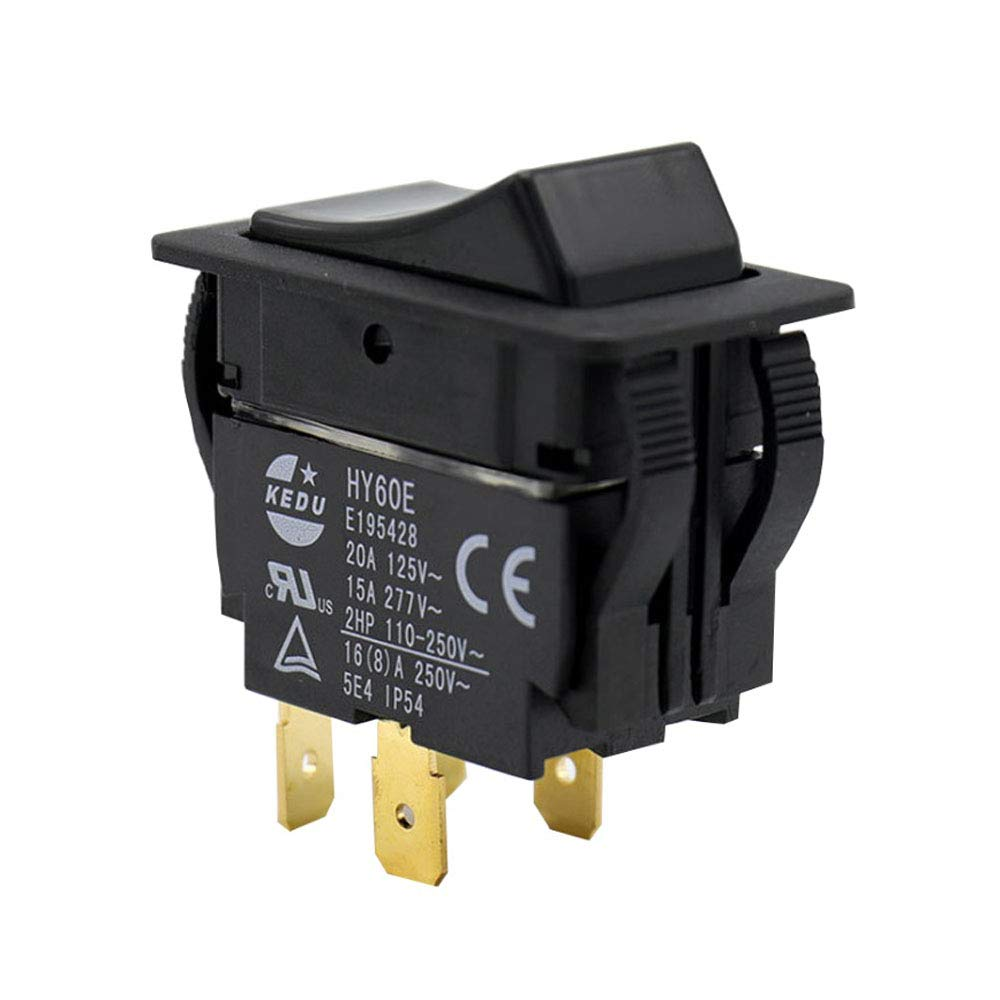 KEDU HY60B 125//250V 20//15A 6 Pins Rocker Switch ON-Off-ON Push Button Switches Arc Pushbutton Switch for Industrial Electric Power Tools and Machine Tool Equipment Control