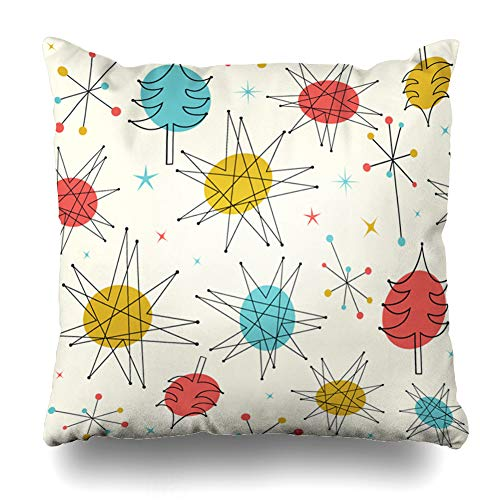 Ahawoso Throw Pillow Cover Square 16x16 Inches Star Blue Modern Mid Century Christmas Pattern 50S Geometric Holidays Red Retro Fifties Winter Advent Zippered Cushion Pillow Case Home Decor Pillowcase