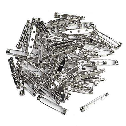Bar Pins Brooch Clasp Pin Backs Safety Pin 100 Pieces Silver for Name Tags, Badges 1.25 Inch (32mm)