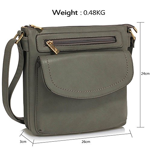 Female Cross Body Design Shoulder Bags New Cross Over Womens With Look 1 Zip Body Back Crossbody ladies Front and Grey 8Yqwx40
