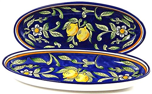 Le Souk Ceramique Large Oval Platters, Set of 2, Citronique Design (Blue Large Oval Platter)