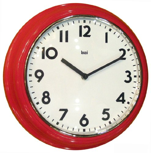 Bai School Wall Clock, Red (Wall Clocks Red Kitchen)