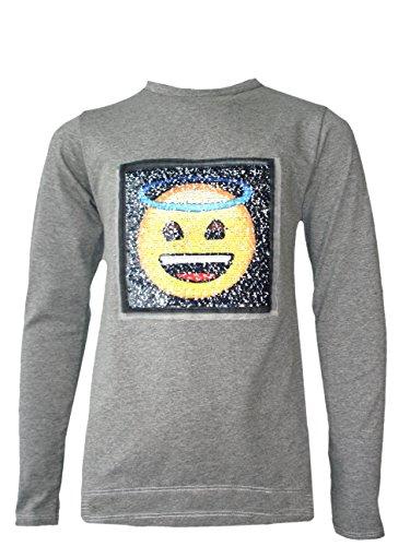 Kids Emoji Emoticon Smiley Angel Devil FACE TEE Tops Brush Changing Sequin 3-14