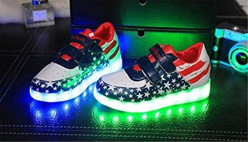 [Present:kleines Handtuch]JUNGLEST® Unisex Junge Mädchen Colorful Farbe LED Leuchtend Aufladen USB Kinderschuhe Paare Schuhe Herbst und Winter Sport schuhe Freiz Blau