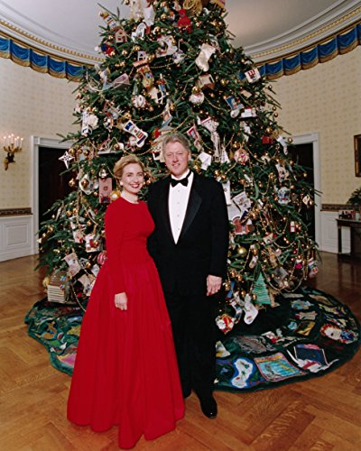 Hillary & Bill Clinton, Presidential Christmas Tree 8x10 Silver Halide Archival Quality Reproduction Photo Print (Tree Presidential Christmas)