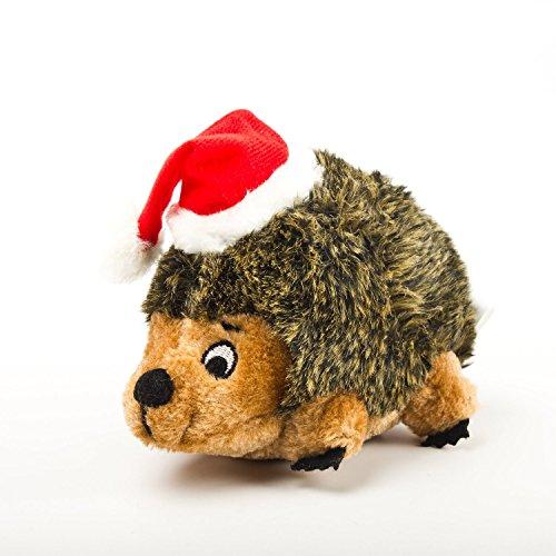 Outward Hound Holiday Hedgehog Plush Dog Toy, Small, Brown