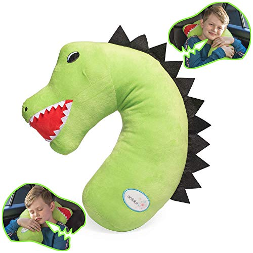 Tulatoo Dinosaur Travel Pillow - The fiercest Travel Neck Pillow and Kids Travel Pillow - Can be Used as a seat Belt Pillow for Kids, Kids car Neck Pillow, Seatbelt Pillow