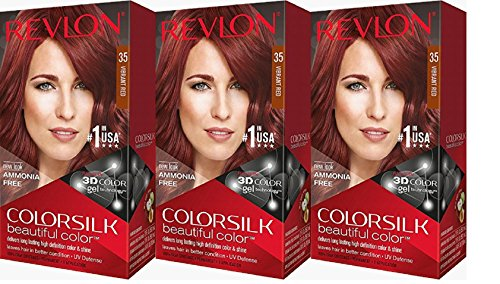 Revlon Colorsilk Beautiful Color, Vibrant Red, 3 Count