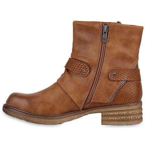 Stiefelparadies Damen Stiefeletten Metallic Biker Boots Leicht Gefütterte Stiefel  Block Absatz Booties Schnallen Schuhe Damenschuhe Flandell ... 4879e7bc67