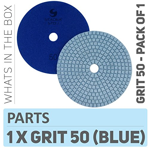 Stadea PPW192D Concrete Polishing Pads 5 Inch Grit 50 - Diamond Pads For Concrete Terrazzo Marble Floor Counter Wet Polishing - Marble Diamond Floor Polishing Pad