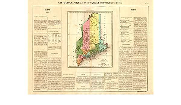 Amazon.com: Maine state map. Claimed borders < 1842 Webster ...