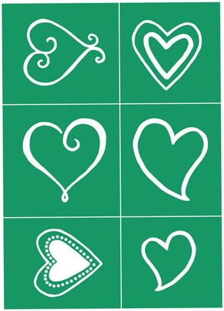 JAJADO Self-Adhesive Silk Screen Stencils Reusable Printing Mesh Transfer Stencils Washable Festival Painting on Wood Home Decor, Rabbit, T-Shirt,Tote-Bags, Fabric,Heart Shape Pattern DIY Decoration