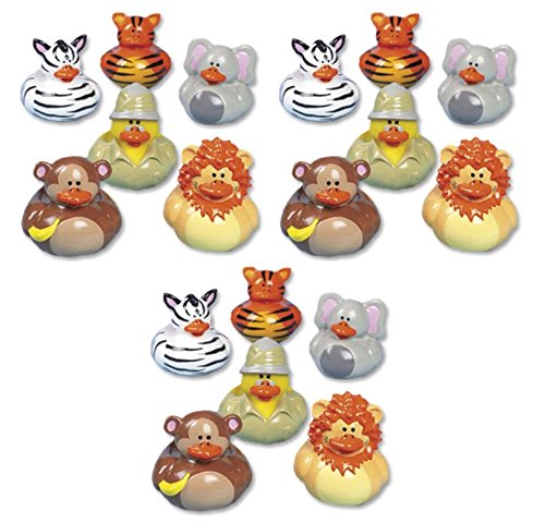 Lot Of 18 Wild Safari Ducks - Zoo Rubber Duckies - Jungle Animals - - Bath Jungle Toy