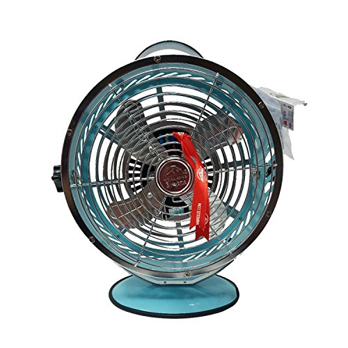 Himalayan Breeze Decorative Light Blue Fan, Chrome Table WBM