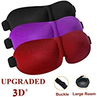 Sleep Mask 3 Pack Upgrade Version Night Eye Mask for Sleeping with Adjustable Buckle, Comfortable & Soft for Women, Men, Larger 3D Contoured Blindfold for Travel, Shift Work (Black & Purple & Red)