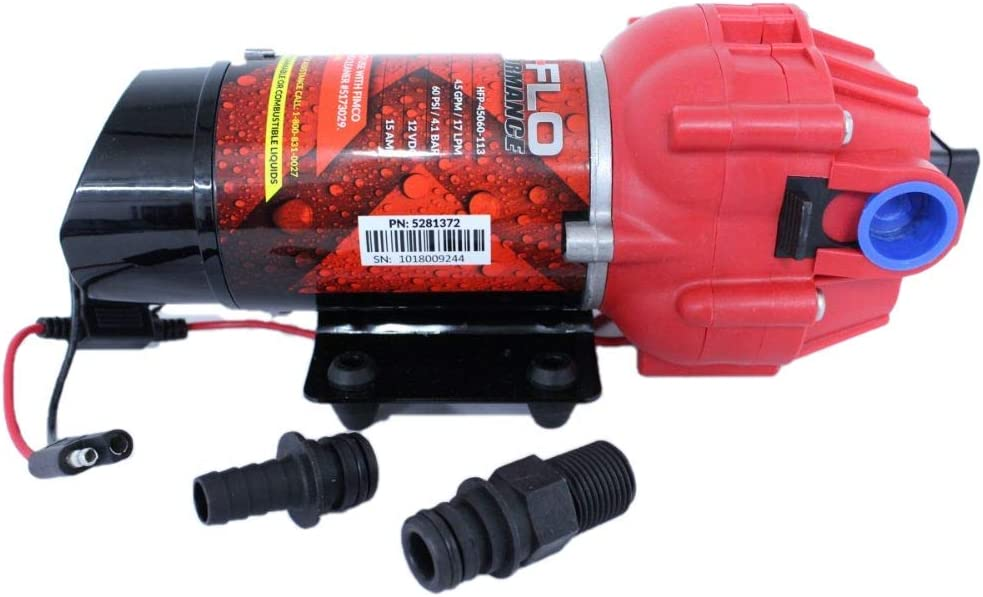 AG SOUTH 5151088 4.5 GPM 12 Volt High Performance (Hi Flo) Diaphragm Sprayer Pump 60 PSI Max 15 Amps Approved for use w/Roundup (Upgrade)