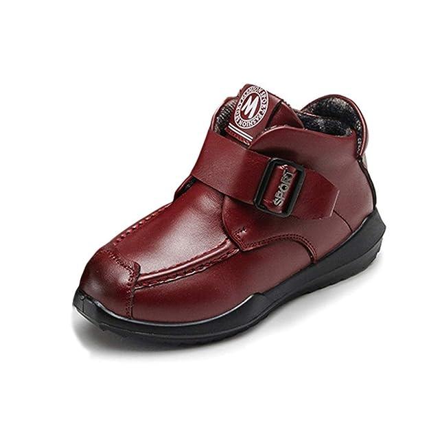 Botas de Cuero para niños Botines de Moda Planos cálidos de Cuero Suave con Zapatos de Felpa cálidos: Amazon.es: Zapatos y complementos