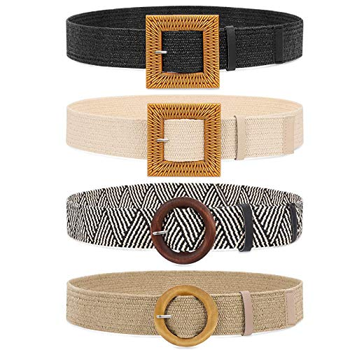 Set of 4 Straw Woven Elastic Stretch Waist Belts for Women, Fashion Boho Ladies Braided Rattan Dress Belt