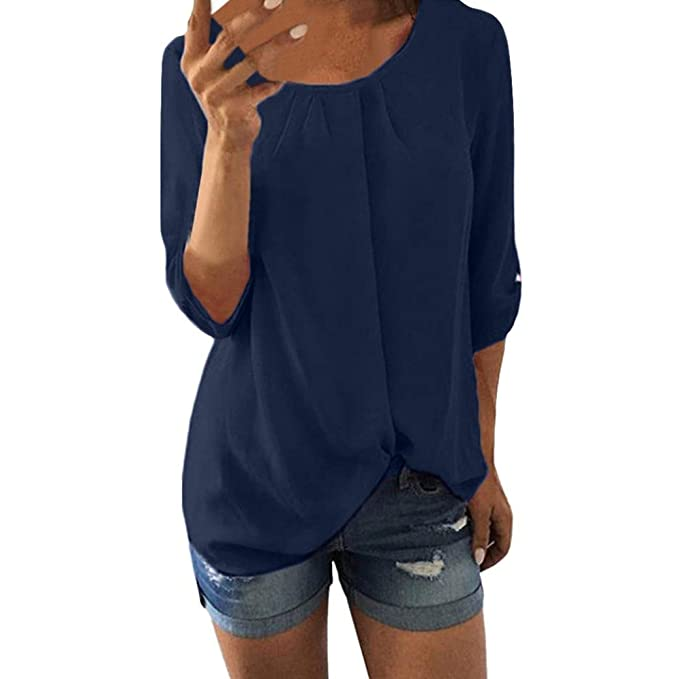 SunGren Blusa de chifón Informal para Mujer, Cuello Camiseta de Manga Tres Cuartos sin Mangas