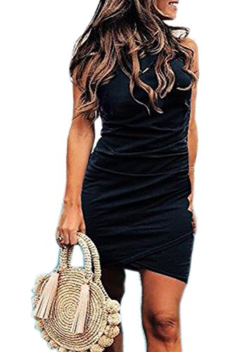 Walant Womens Short Sleeve Sheath Dress Solid Color Irregular Hem Summer Bodycon Mini Dress (M, X-Black)